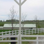 Detail of PVC fence and gate by Lovewell Fencing