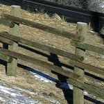 Detail of wood fence by Lovewell Fencing